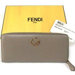 Auc Fendi ZIP-AROUND Beige leather wallet
